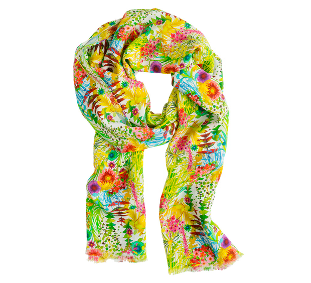 "LIBERTY FLORAL SCARF  $150.00 item 43166 Add a brilliant pop of color with our silk scarf, in pretty prints from London's esteemed Liberty Art Fabrics (famous since 1875 for its intricate florals and paisleys). Silk. 76""L x 25""W including a 1/2"" eyelash fringe."