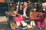 "Eric Daman @EricDaman_Style and Lauren Mikler in the  @HuffPostLive studio for a segment on ""How To Shop Your Closet."""